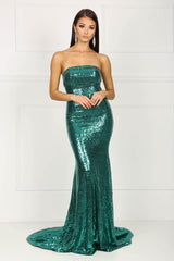 Strapless straight neckline form-fitted sparkly sequins evening gown in emerald green color
