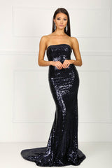 Strapless straight neckline form-fitted sequins evening gown in black color
