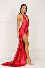 BELLA Satin Gown - Red