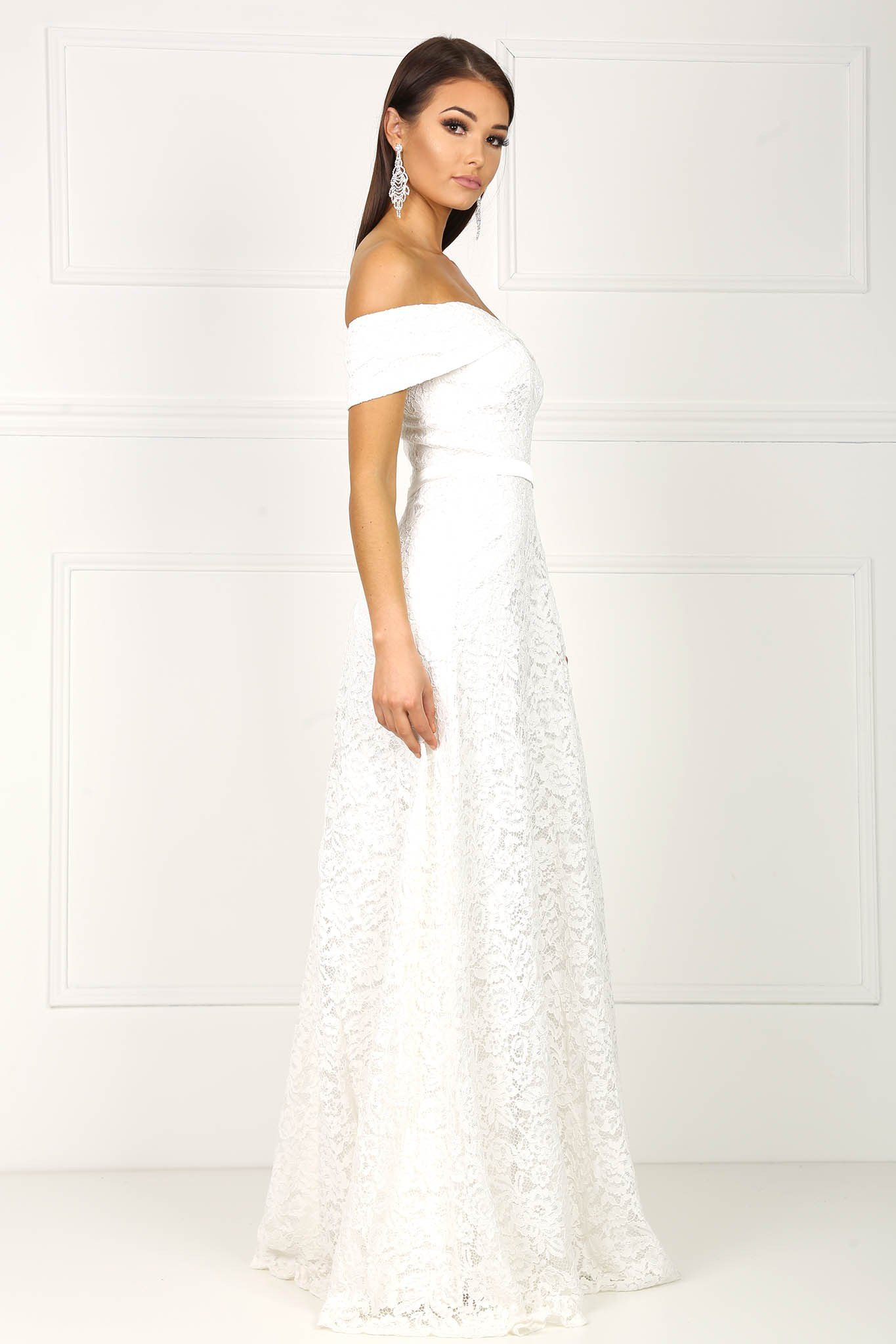 Shayna Lace Gown - White – Noodz Boutique