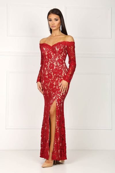 Iris Long Sleeve Lace Gown - Red