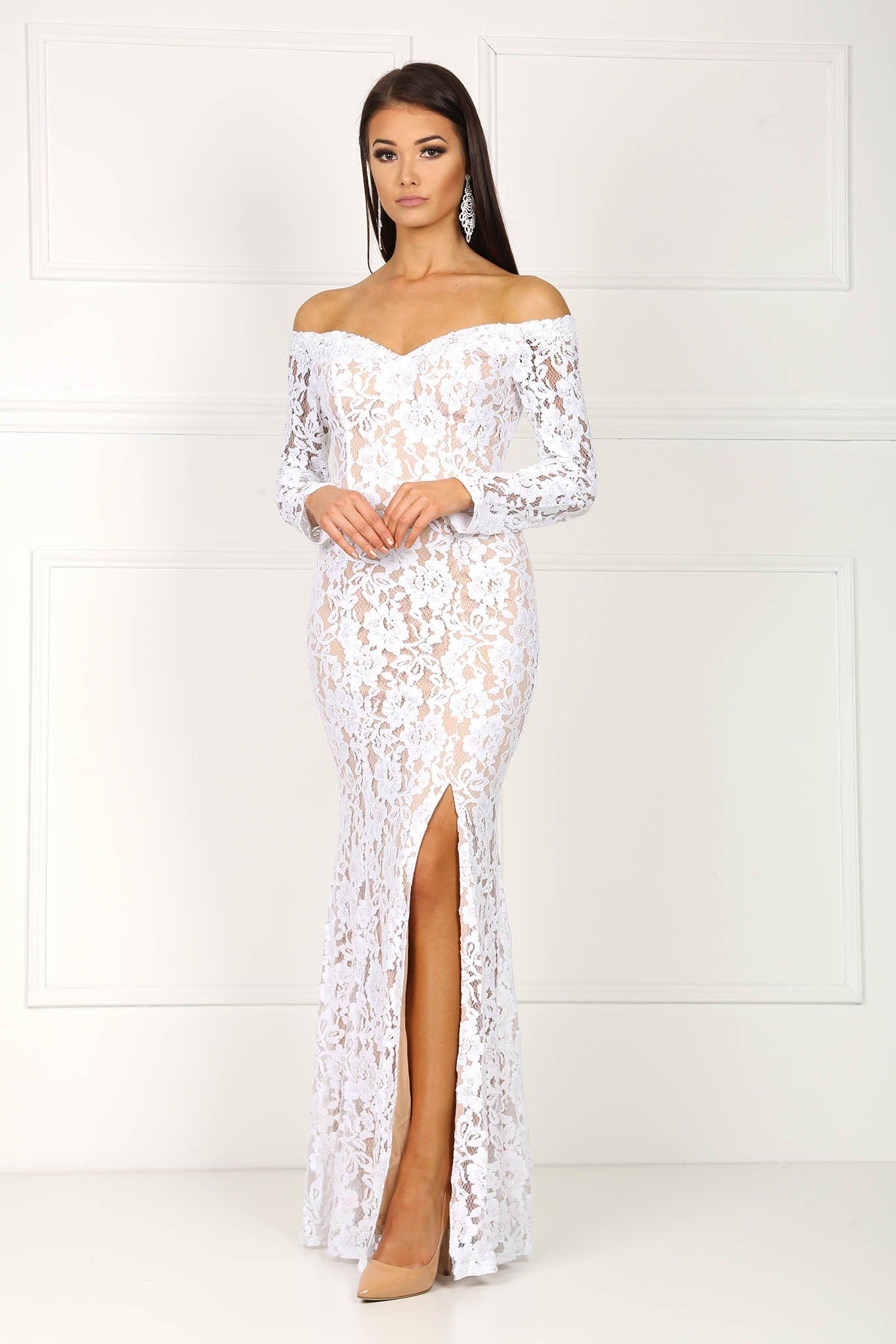 White open shoulder lace long sleeve gown with beige underlining, sheer lace sleeves and front thigh high slit
