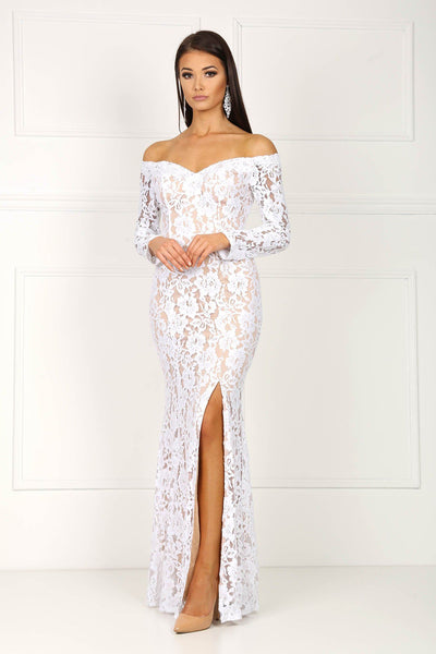 Iris Long Sleeve Lace Gown - White/Beige