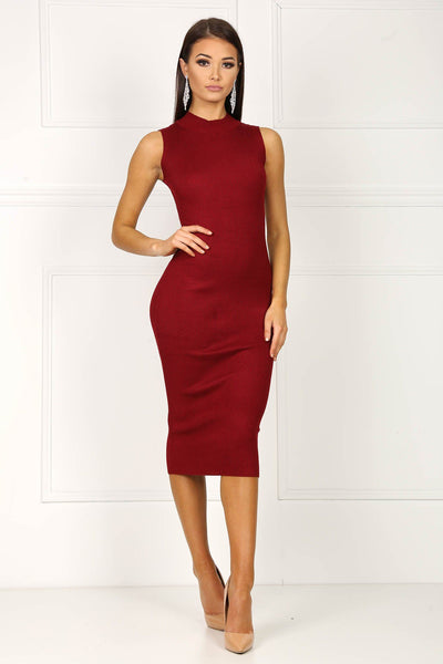 Alexis Knit Midi Dress - Wine