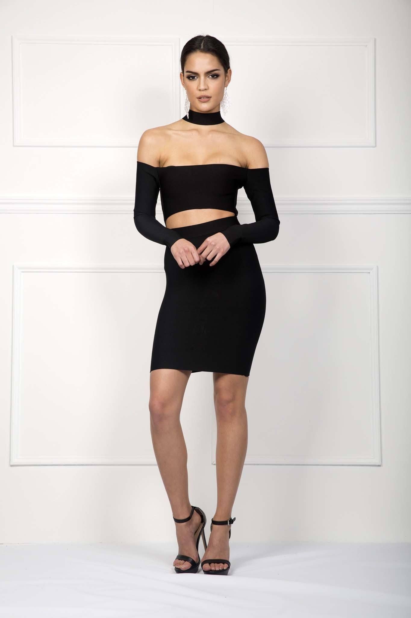 Black choker long sleeve bandage dress mini above knee length bodycon open shoulders cutout designs