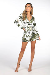 Green Leaf Print Long Sleeve Mini Playsuit with V Neckline and Faux Wrap Design