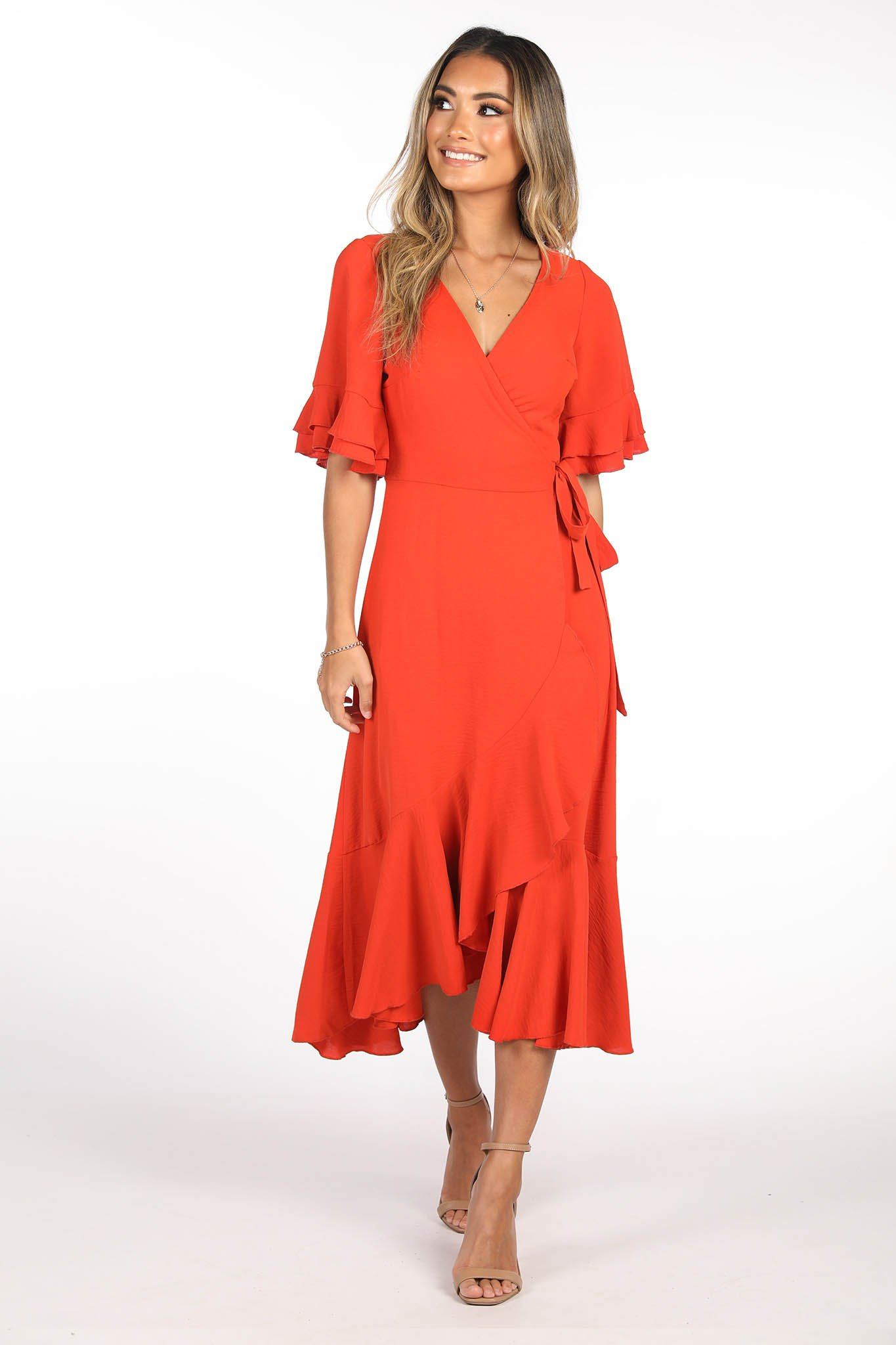 Bright Red Wrap Midi Dress with V Neckline and Frill Trimming at the Sleeves and Hemlines