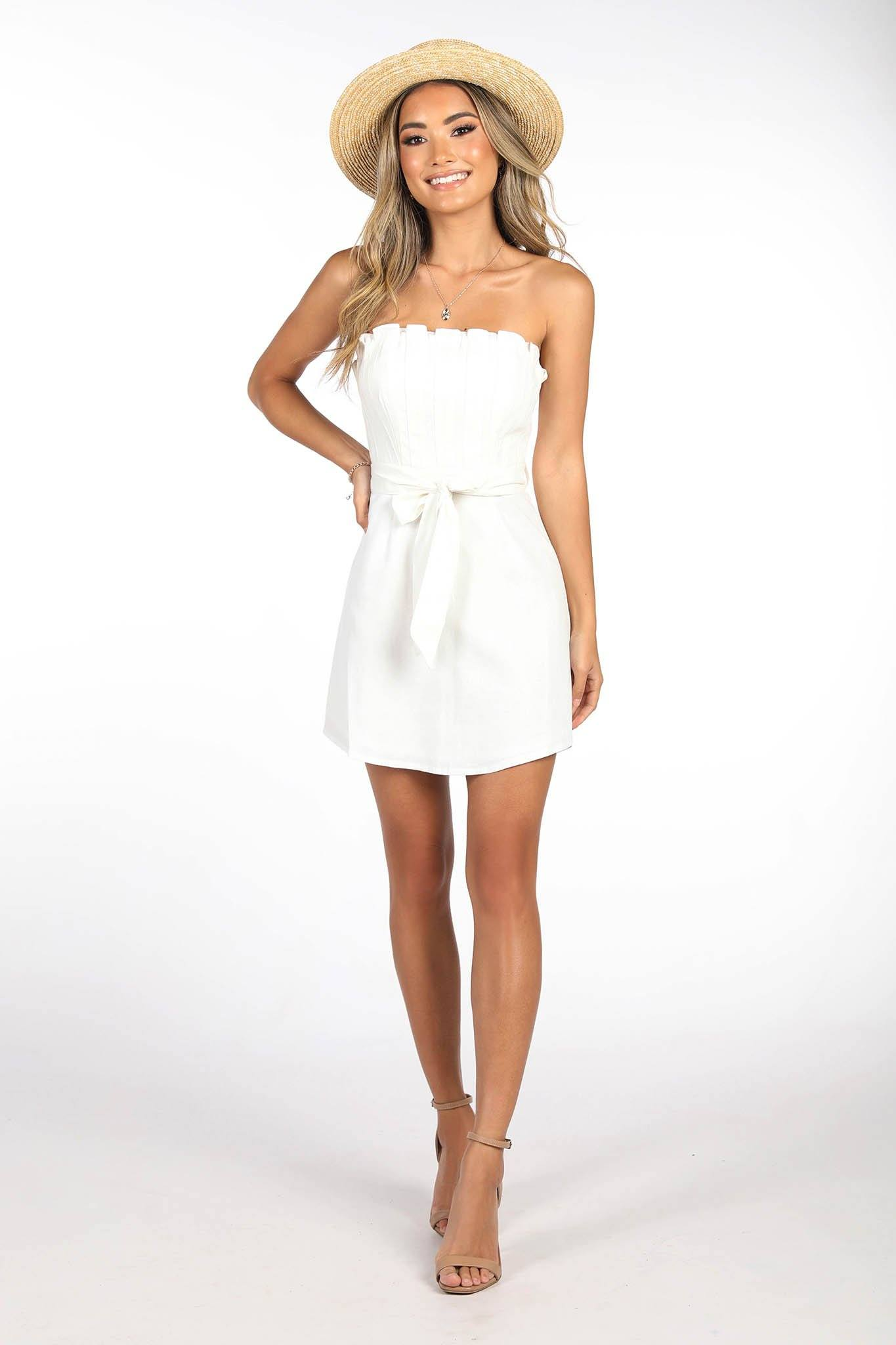 White Summer Straight Strapless Mini Dress with Waist Tie