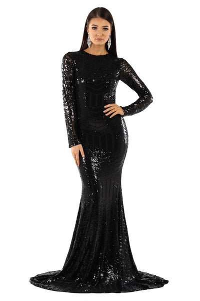 ALIYA Long Sleeve Sequin Gown - Black