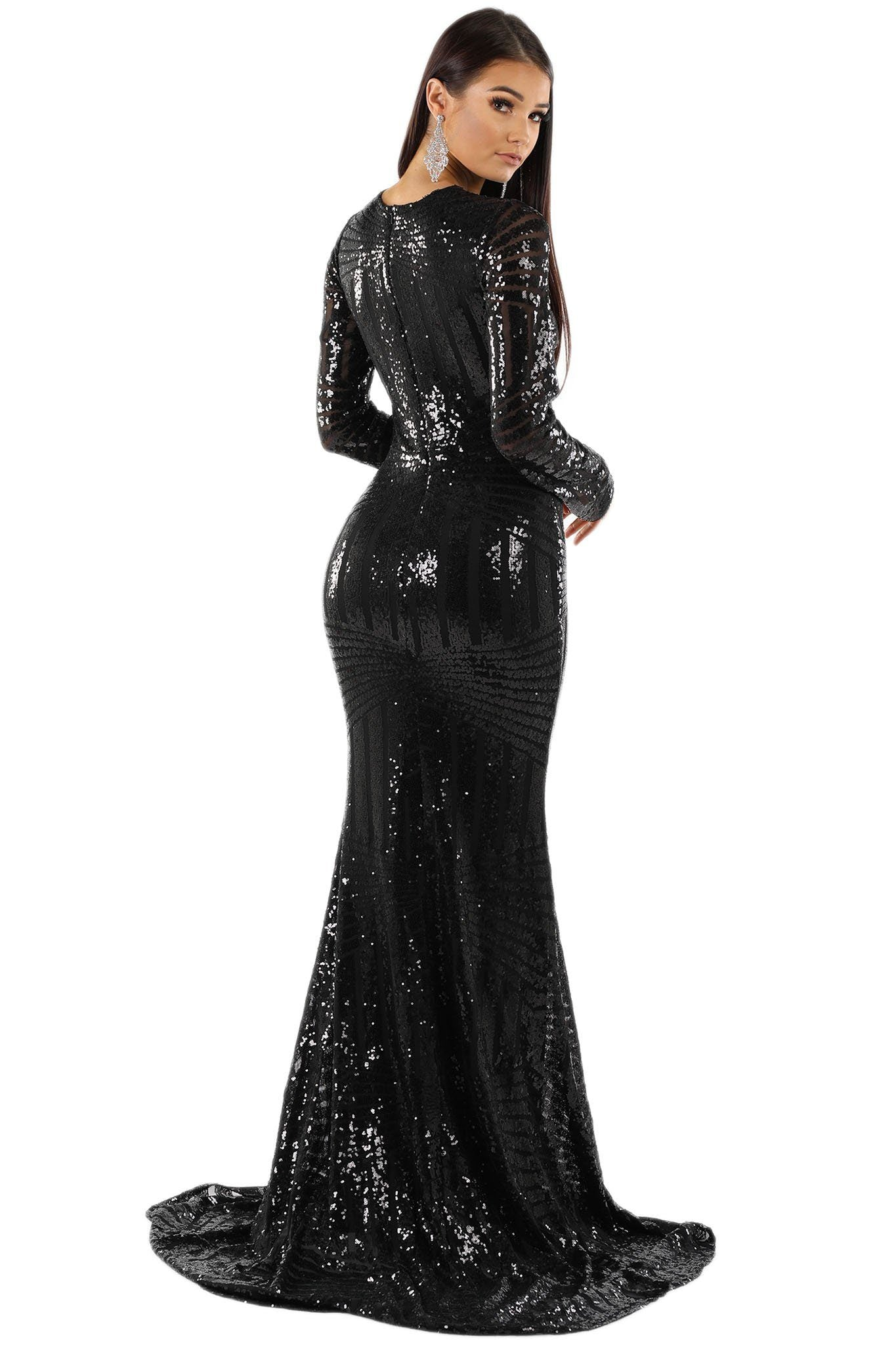 ALIYA Long Sleeve Sequin Gown - Black – Noodz Boutique