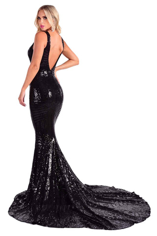 Amalfi Geometric Sequin Gown - Black