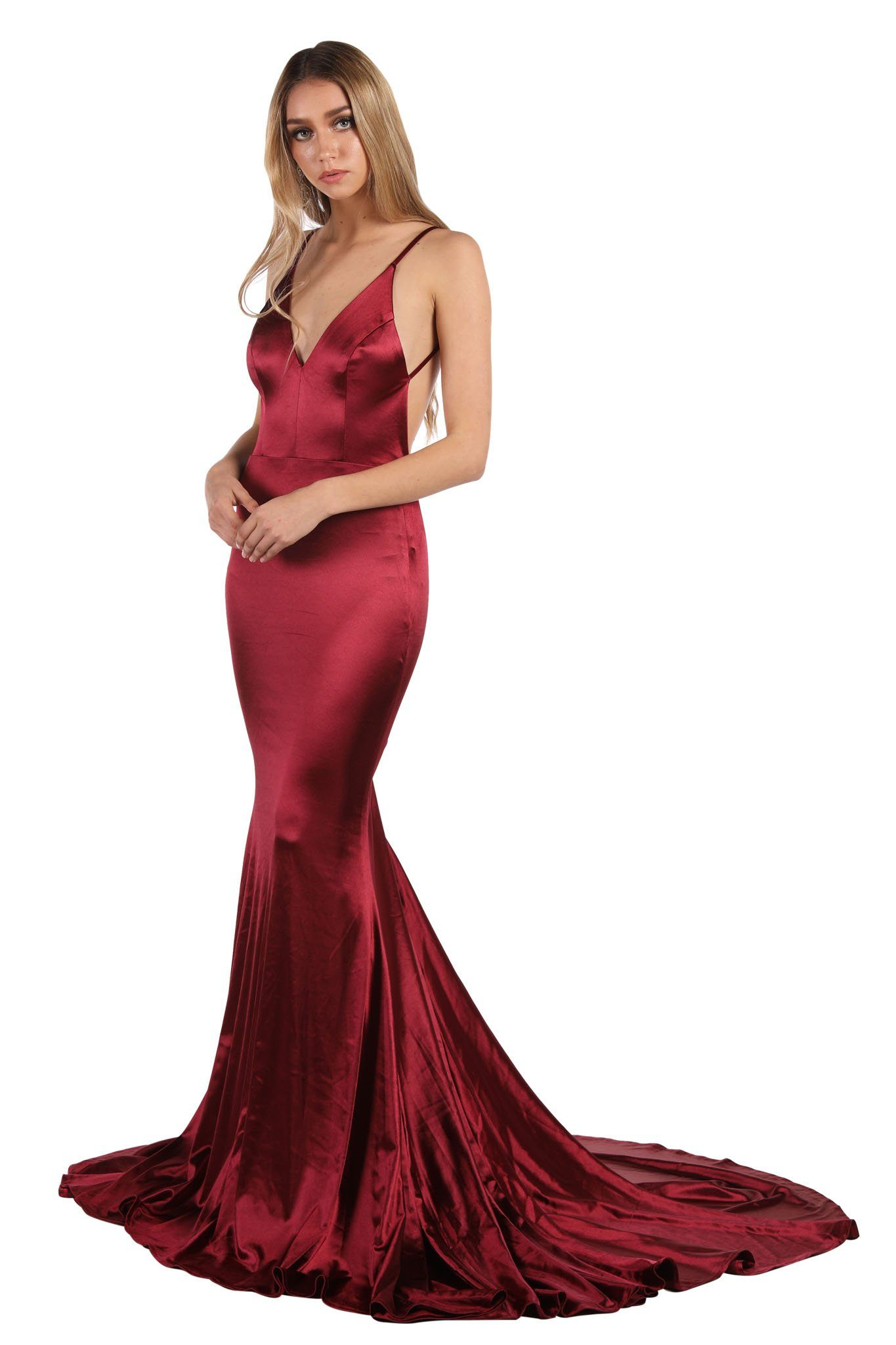 Burgundy Stretchy Satin Gown with Deep V Neck, Ruched V Open Back and Mermaid Train