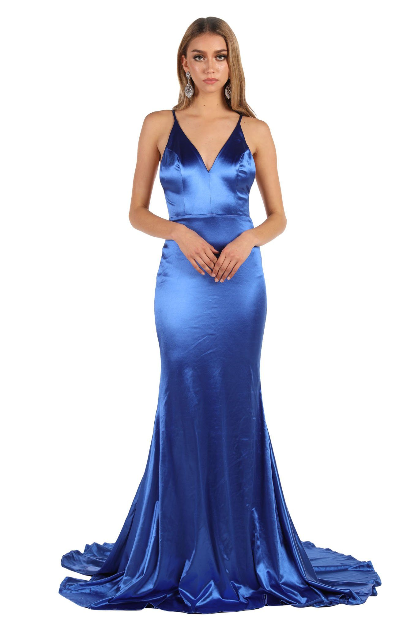 Royal Blue Stretchy Satin Gown with Deep V Neck, Ruched V Open Back and Mermaid Train