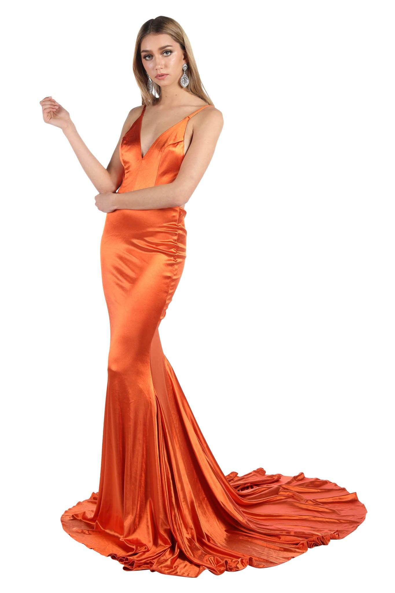 Burnt Orange Coloured Stretchy Satin Gown with Deep V Neck, Ruched V Open Back and Mermaid Train