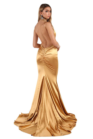 AMATA Ruched Back Stretch Satin Gown - Gold