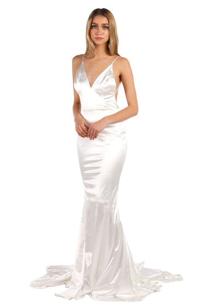 AMATA Ruched Back Stretch Satin Gown - Ivory