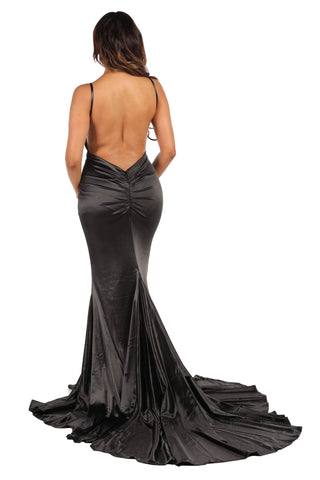 AMATA Ruched Back Stretch Satin Gown - Black