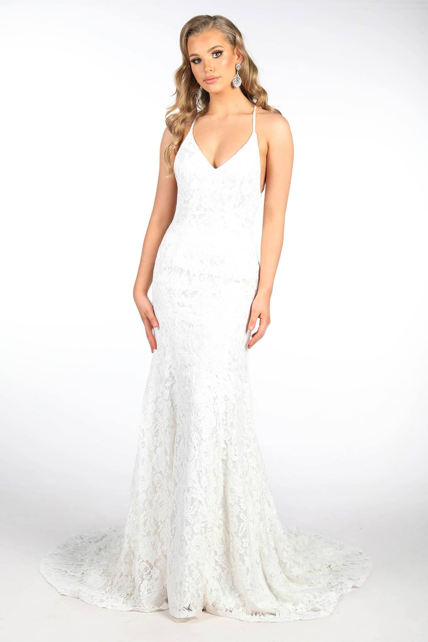 White Full Length Lace Evening Gown with Full White Lining, Deep V Neckline, Lace Up Open Back Design and Long Train