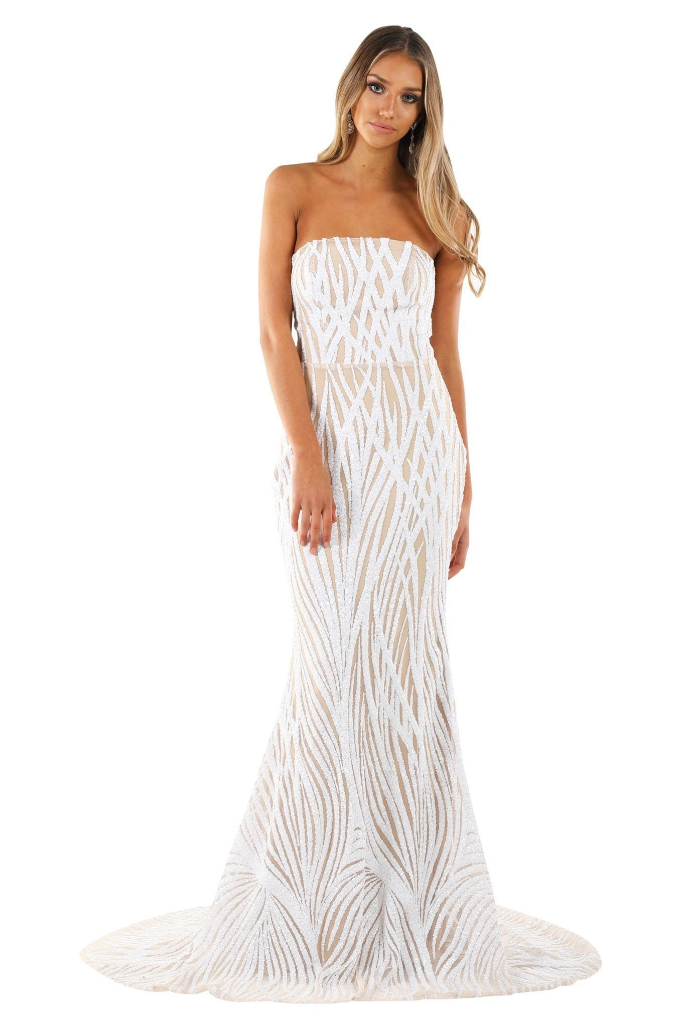 Fit and flare evening gown with white vines pattern sequins, nude lining, strapless straight neckline design and long train