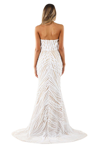 Angelisa Strapless Straight Neck Gown - White/Beige