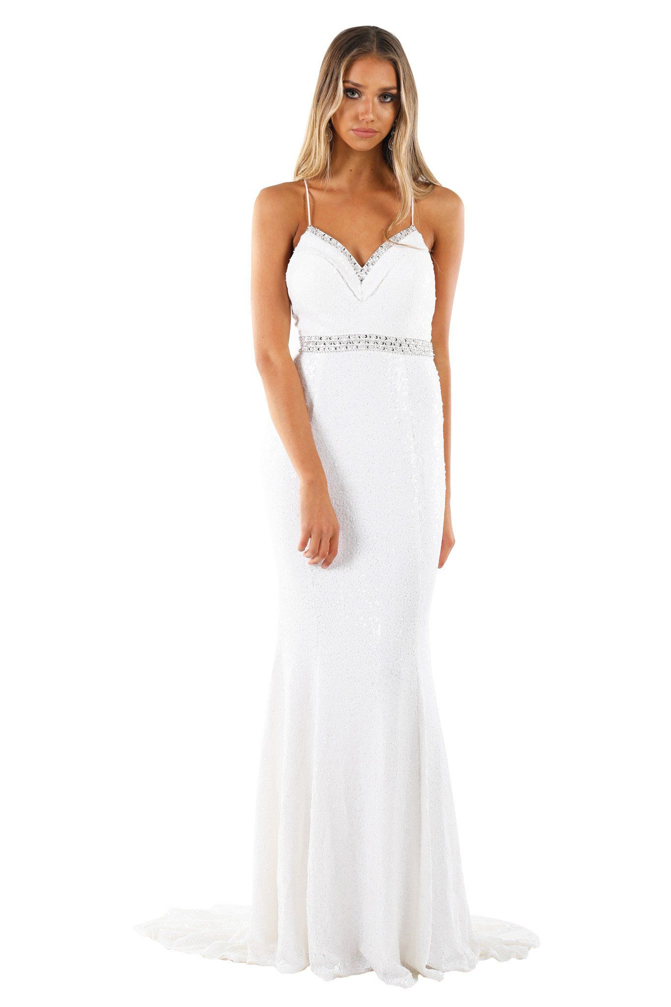 White sleeveless sequin formal long gown with sweetheart embellished neckline, embellished belt, lace-up on open back and a long train
