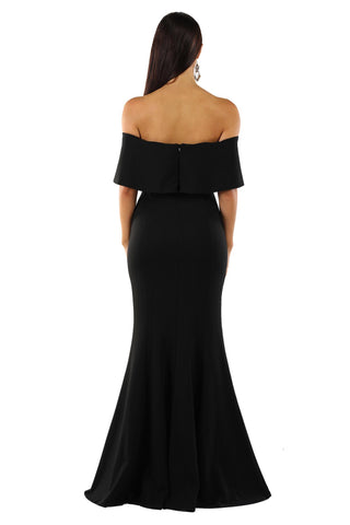 Autumn Ruffled Off Shoulder Maxi Dress - Black