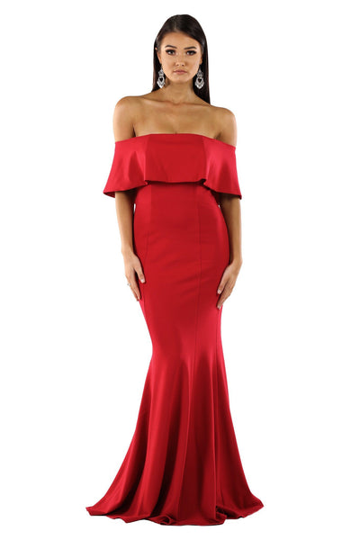 Autumn Ruffled Off Shoulder Maxi Dress - Red