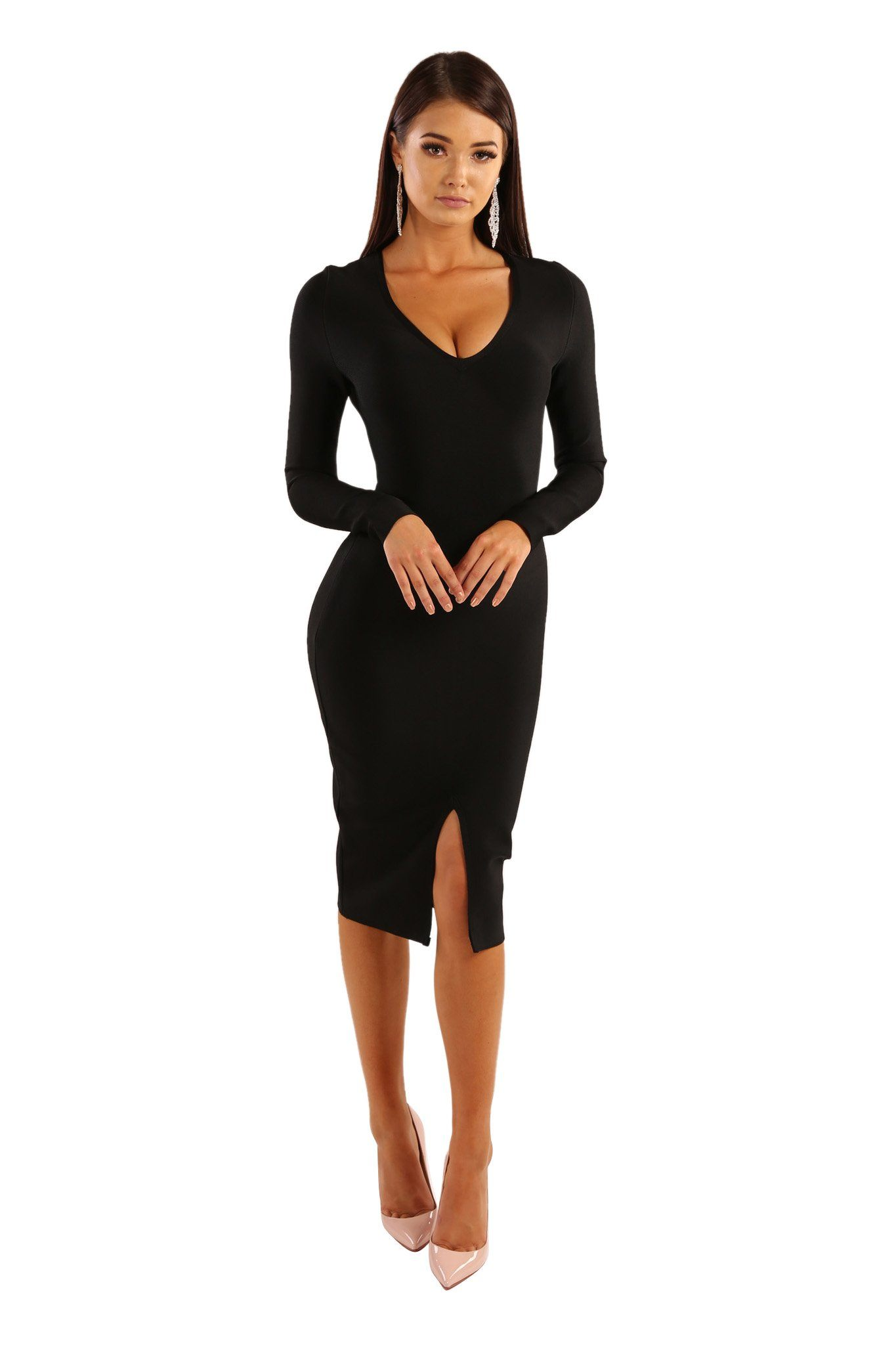 Black below-knee length long sleeve slim fit bandage dress with deep V neckline and front slit design