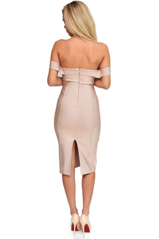 Adria Off Shoulder Dress - Nude (Size M - Clearance Sale)