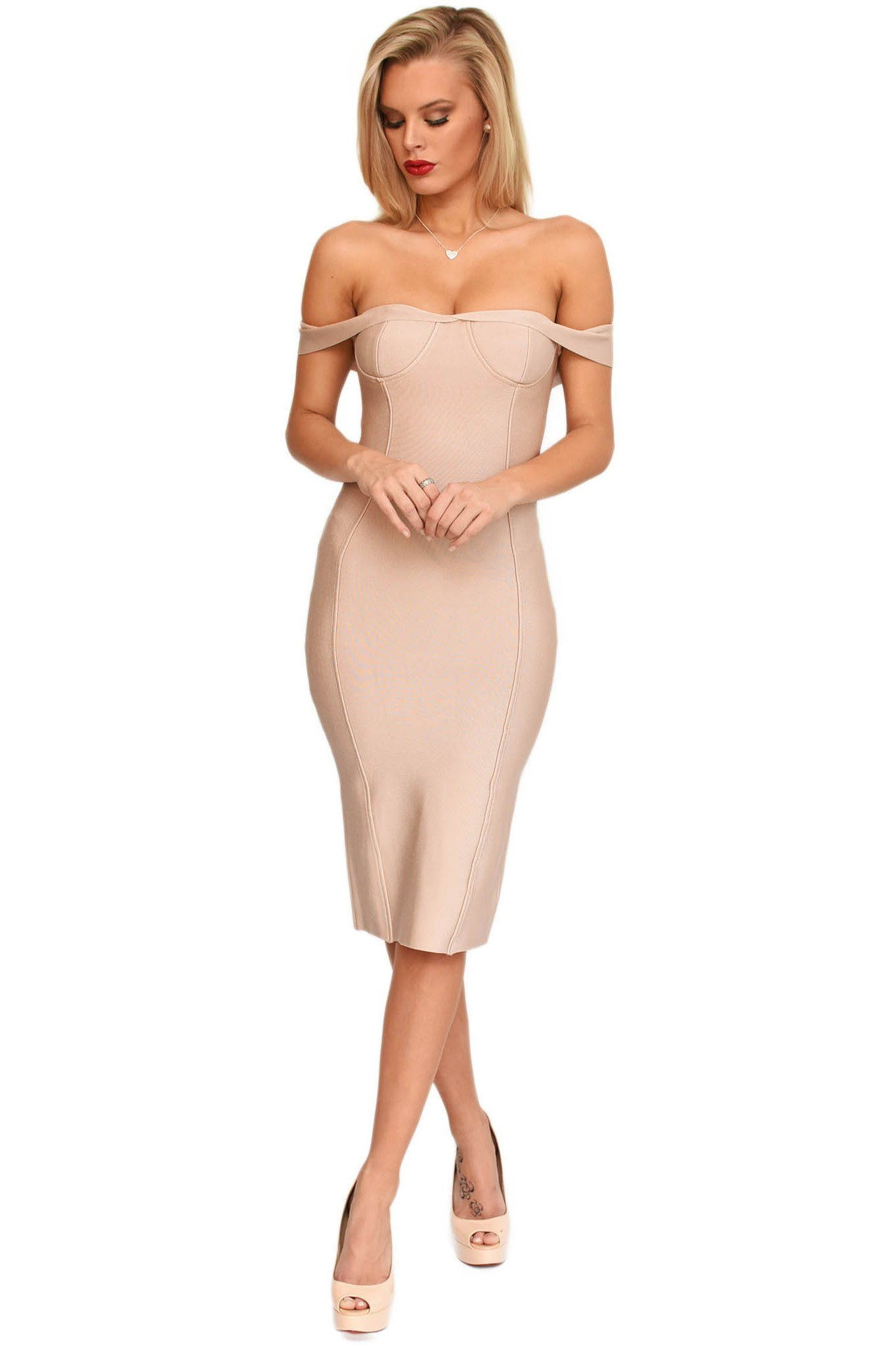 Front of nude coloured off-the-shoulder sweetheart neckline midi bodycon bandage dress