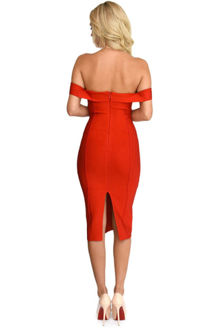 Adria Off Shoulder Cap Sleeve Bandage Dress - Red