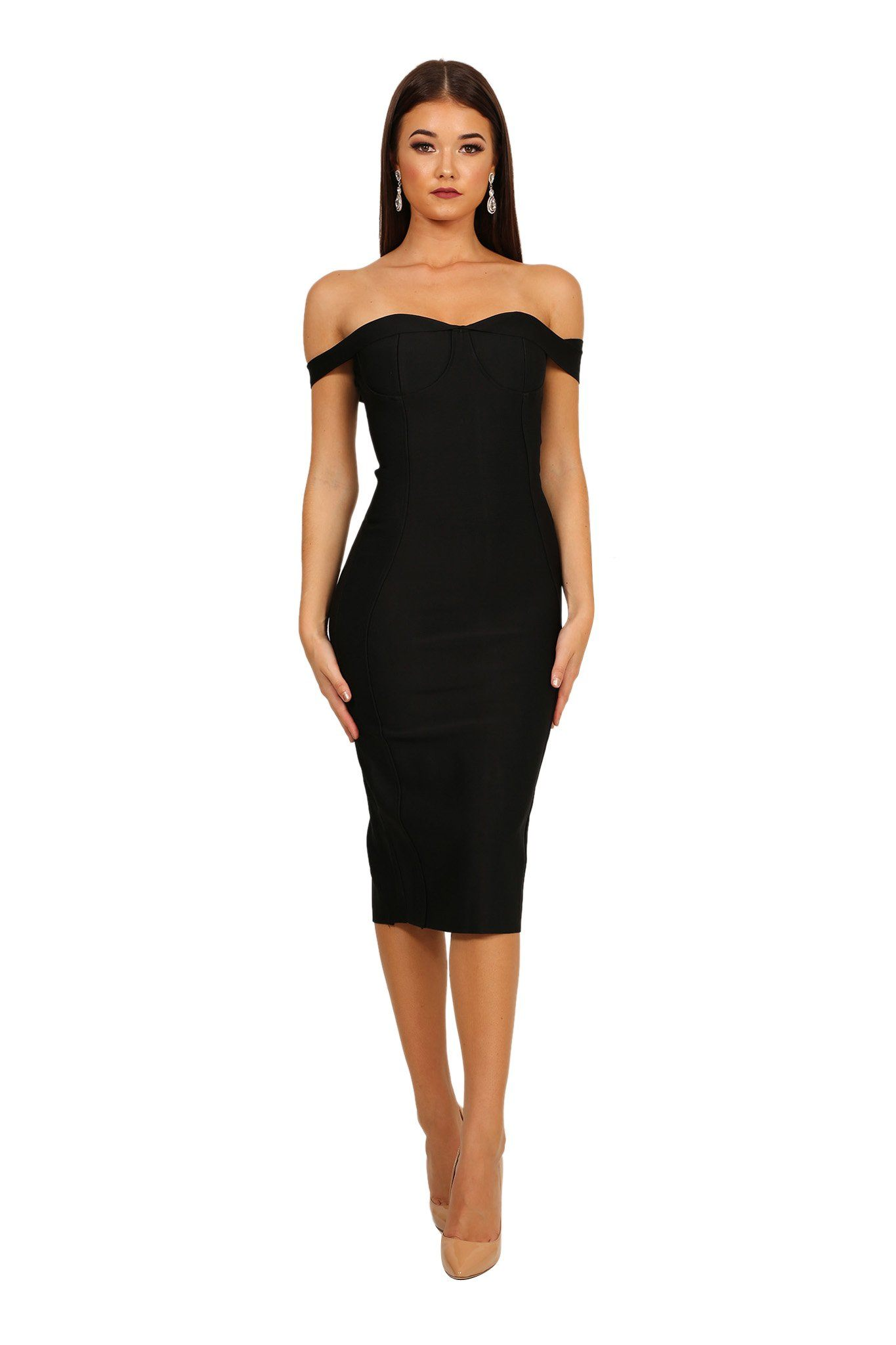Front of black off shoulder midi form fitted bandage dress with sweetheart neckline