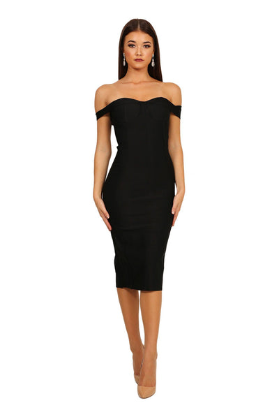 Adria Off Shoulder Cap Sleeve Bandage Dress - Black