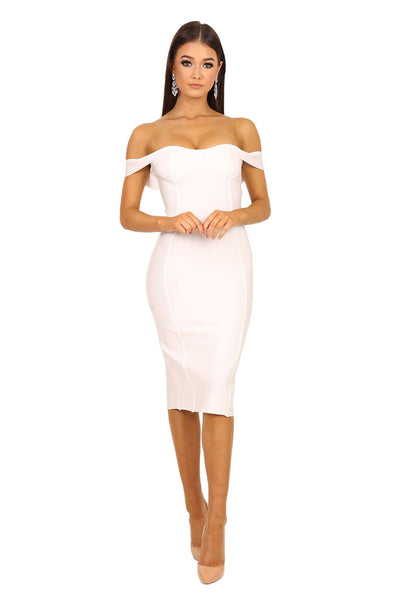 Adria Off Shoulder Cap Sleeve Bandage Dress - White