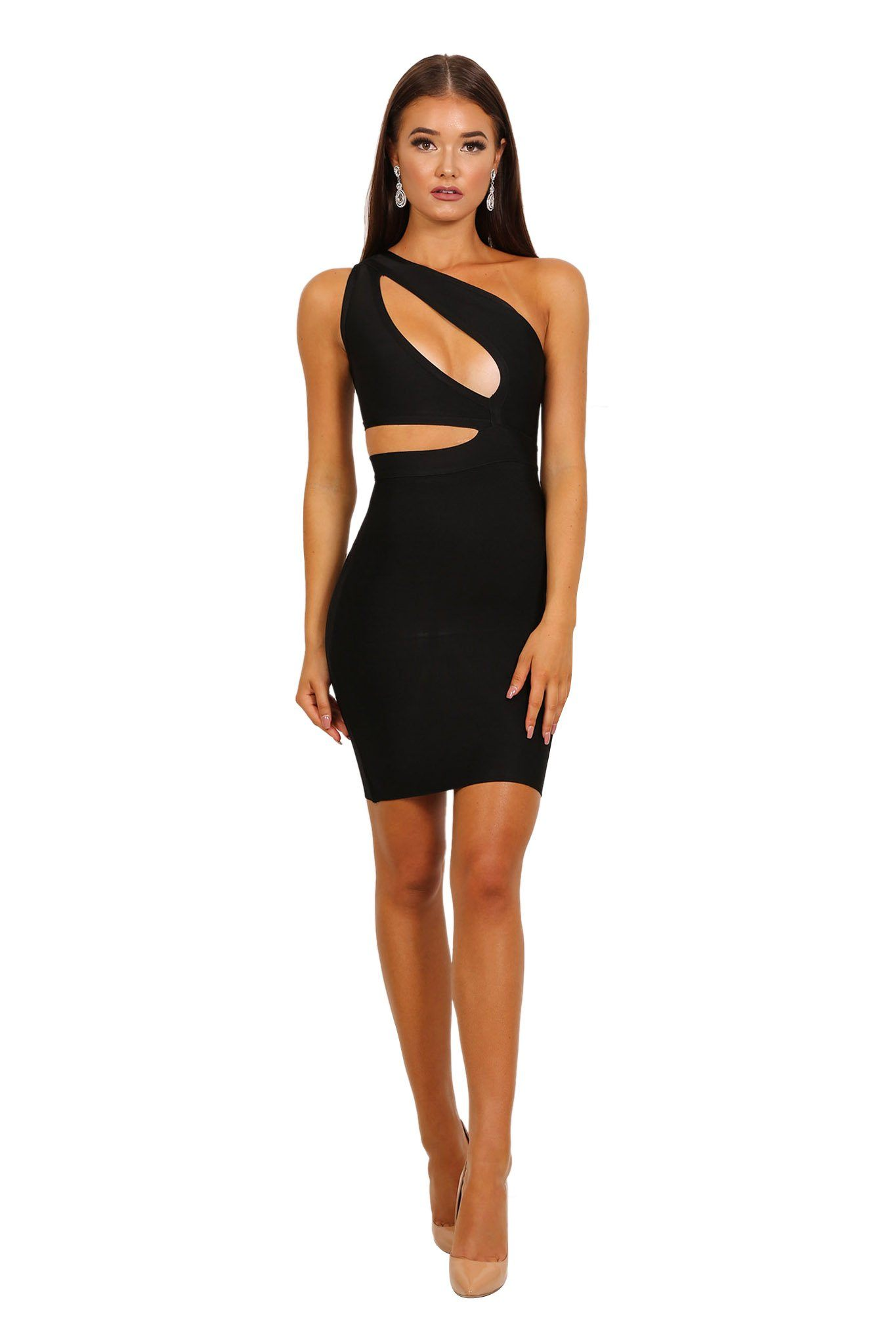 One shoulder style mini bandage dress with stylish cutouts in black color