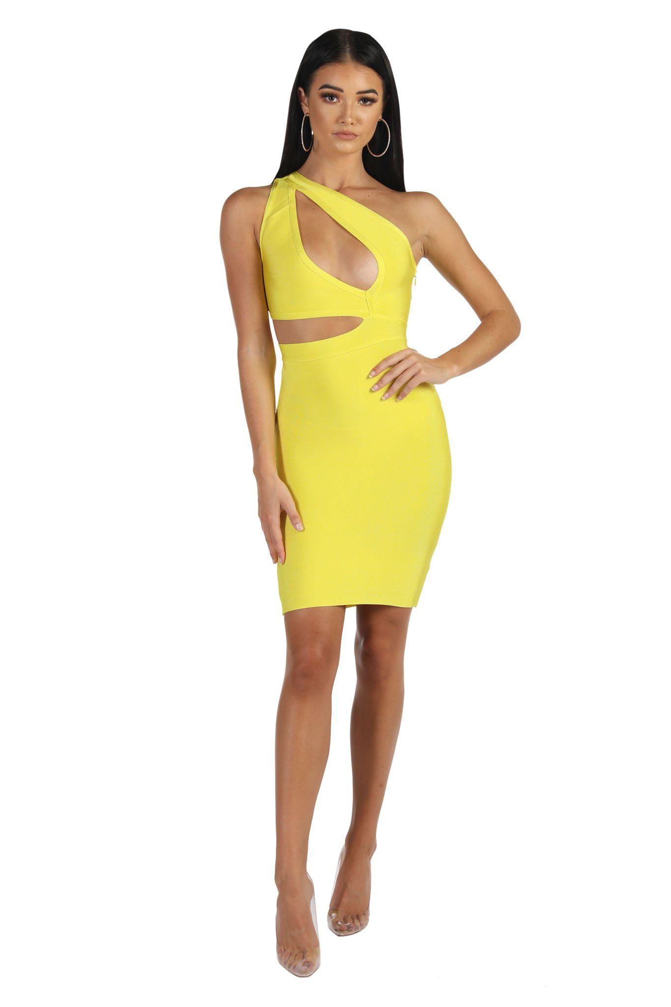 Yellow Sleeveless Above-Knee Length Bandage Dress with Asymmetric One Shoulder Neckline and Cutouts