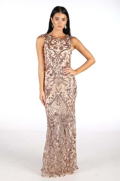 Alana Sequin Maxi Dress - Rose Gold (Size S - Clearance Sale)