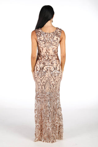 Alana Pattern Sequin Maxi Dress - Rose Gold