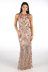 Rose Gold Pattern Floor Length Sequin Sleeveless Dress with Scoop Neckline and Slim Fit