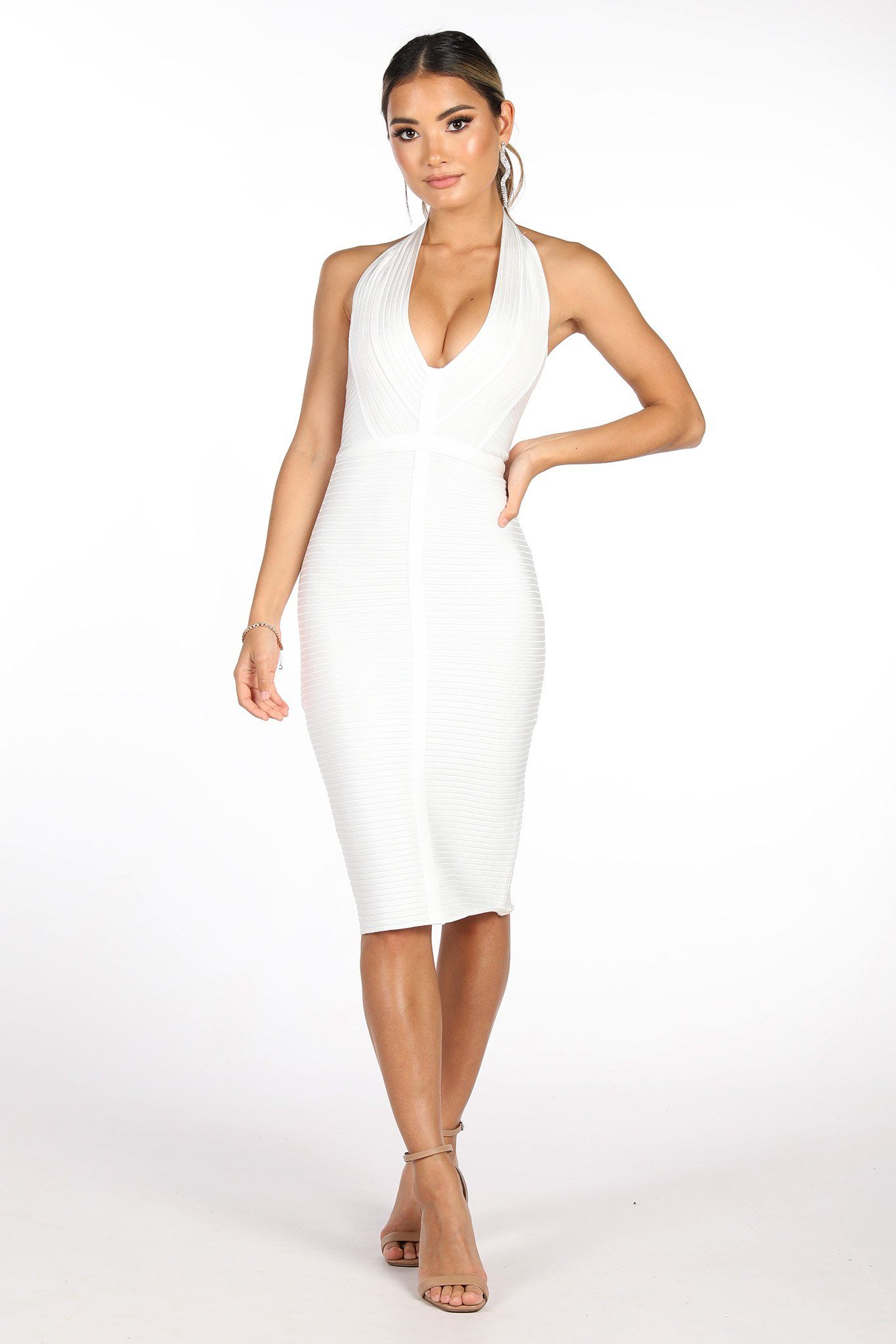 White Midi Bandage Dress featuring Plunging Halter Neckline, Open back Design and Body-skimming Fit
