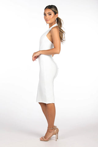 ALEXIS Halter Bandage Dress - White