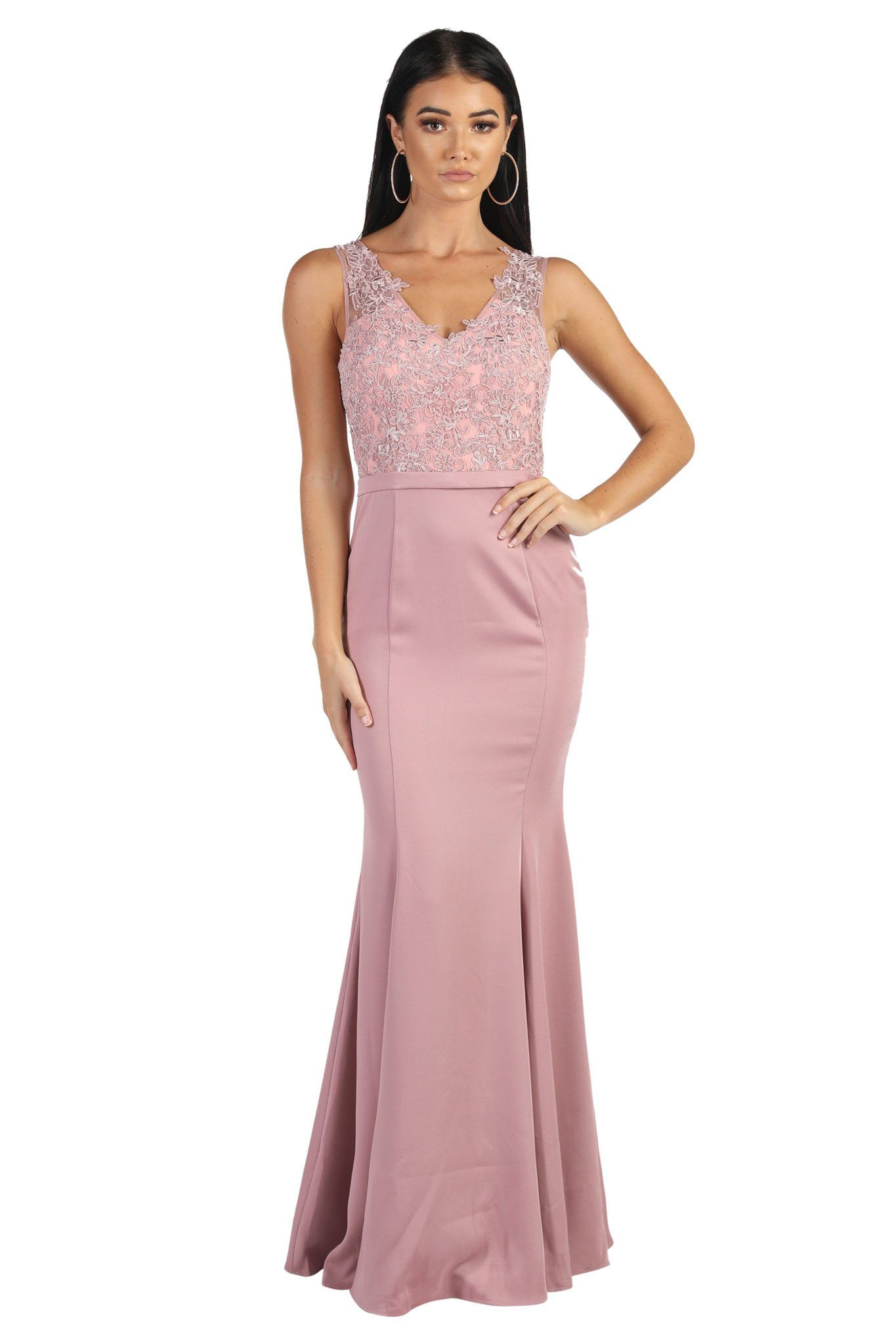 Form Fitting Maxi-Length Bridesmaid or Formal Evening Dress with Lace Bodice, V Neckline, Fit and Flare Skirt in Dusty Pink Colour