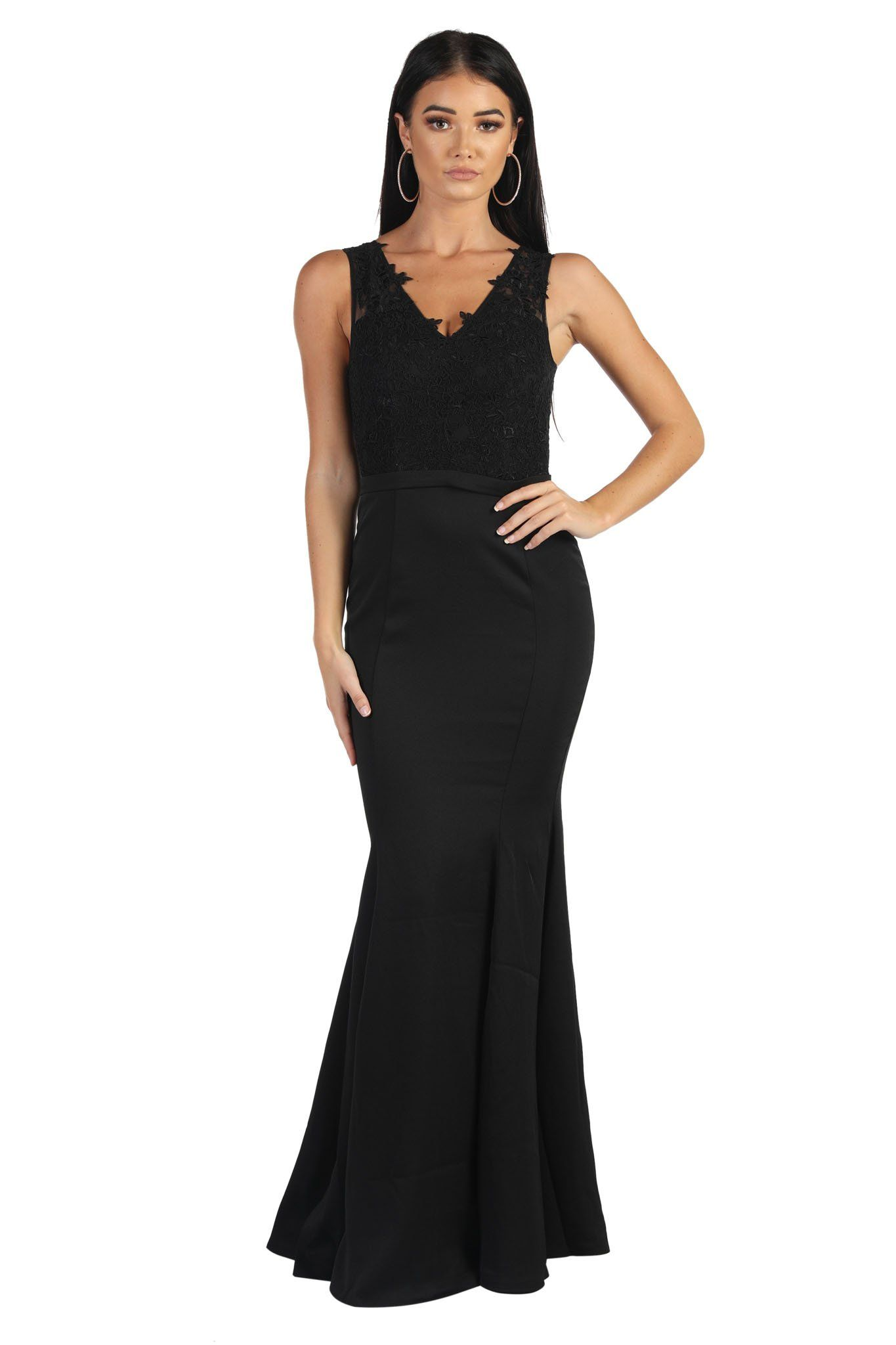 Black Form Fitting Maxi-Length Formal Evening Dress with Lace Bodice, V Neckline, Fit and Flare Skirt