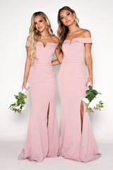 Dusty Pink Off Shoulder Full Length Bridesmaids Dress with V Cut Out Neckline and Collar Detail, and a Belt Detail at Waistline and Slit on the Left Leg
