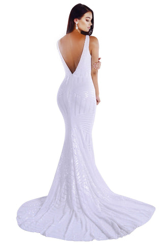 Amalfi Geometric Sequin Gown - White