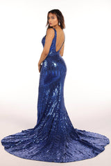 Open Back Long Train Design of Royal Blue Geometric-Pattern Sequin Floor Length Gown with Sweetheart Neckline
