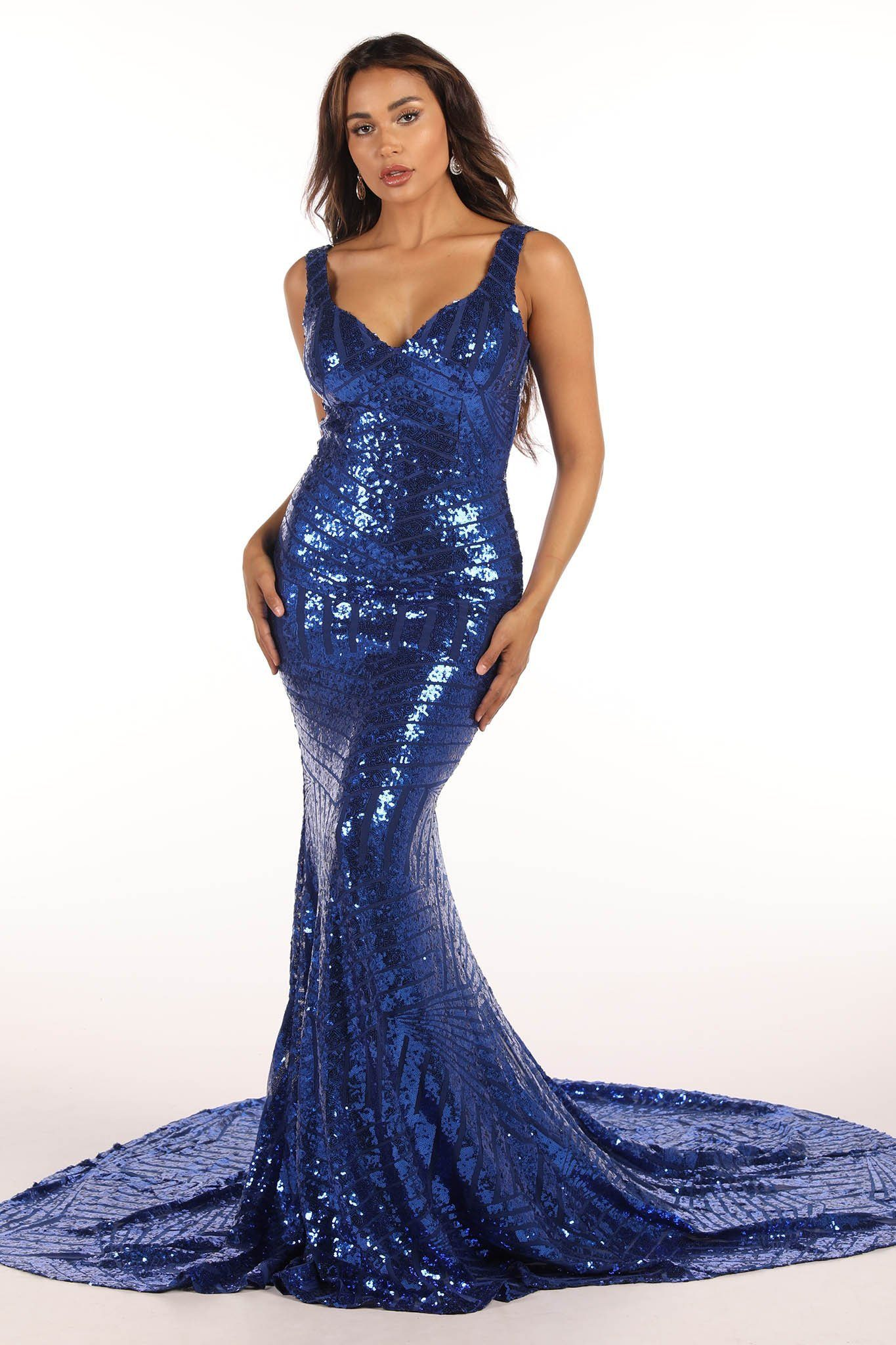 Royal Blue Geometric-Pattern Sequin Floor Length Gown with Sweetheart Neckline, Shoulder Straps, V Open Back and Long Train