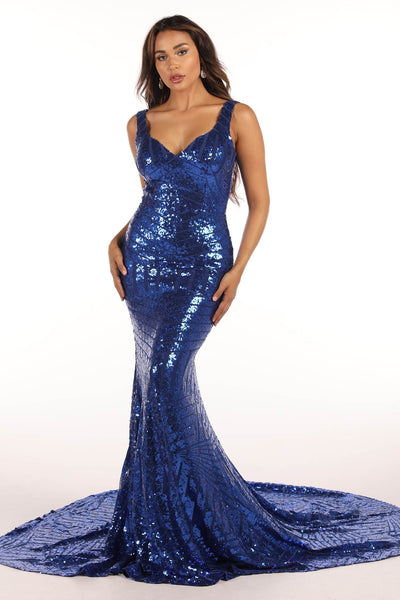 Amalfi Geometric Sequin Gown - Royal Blue
