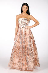Strapless Square Neckline A Line Ball Gown with Embroidered Flower Sequinned Mesh in Rose Gold Colour