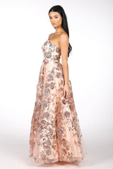 Side Image of Strapless Square Neckline A Line Ball Gown with Embroidered Flower Sequinned Mesh in Rose Gold Colour
